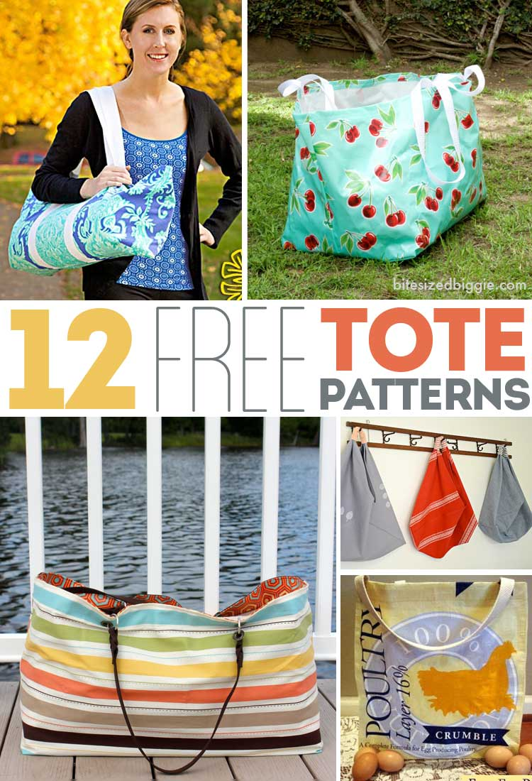 12 FREE tote bag patterns - all shapes and sizes!