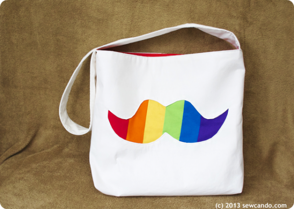 Rainbow Stache Bag