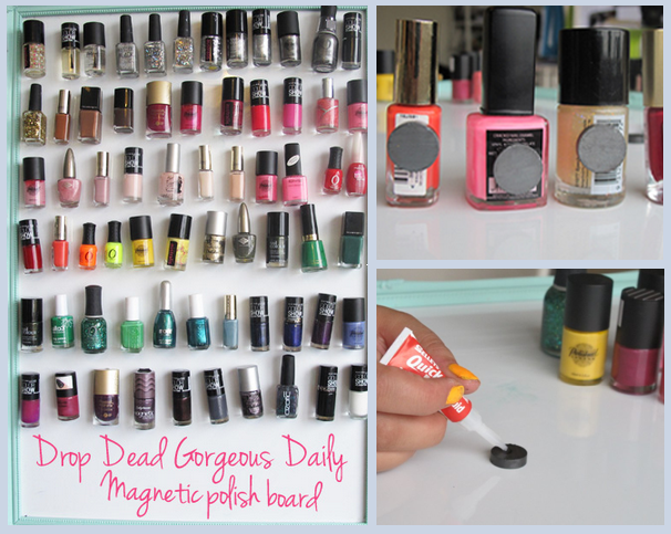 Make a nail polish magnet board