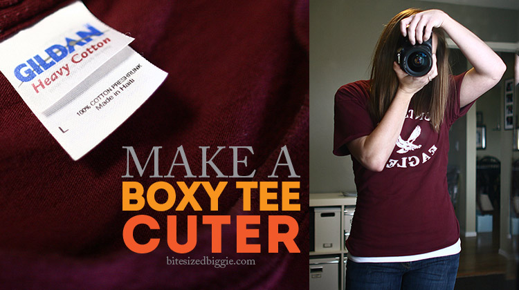 Turn a big boxy t-shirt into a cuter fitted tee - NO SEW!