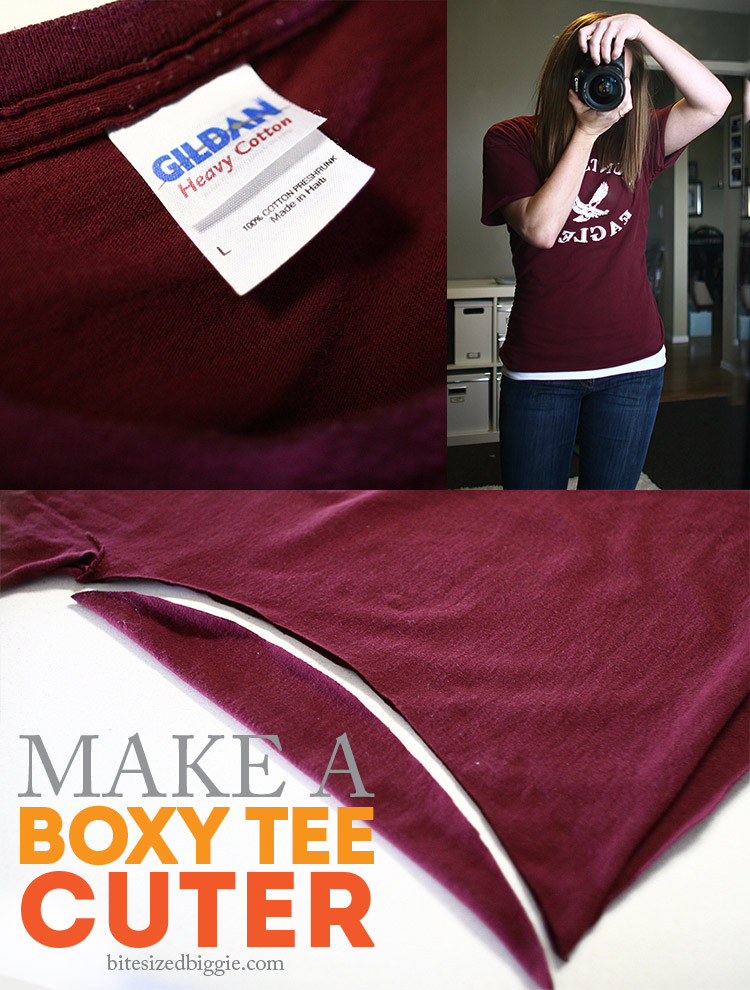 Refashion a boxy t-shirt into a cuter fitted tee - NO SEW!