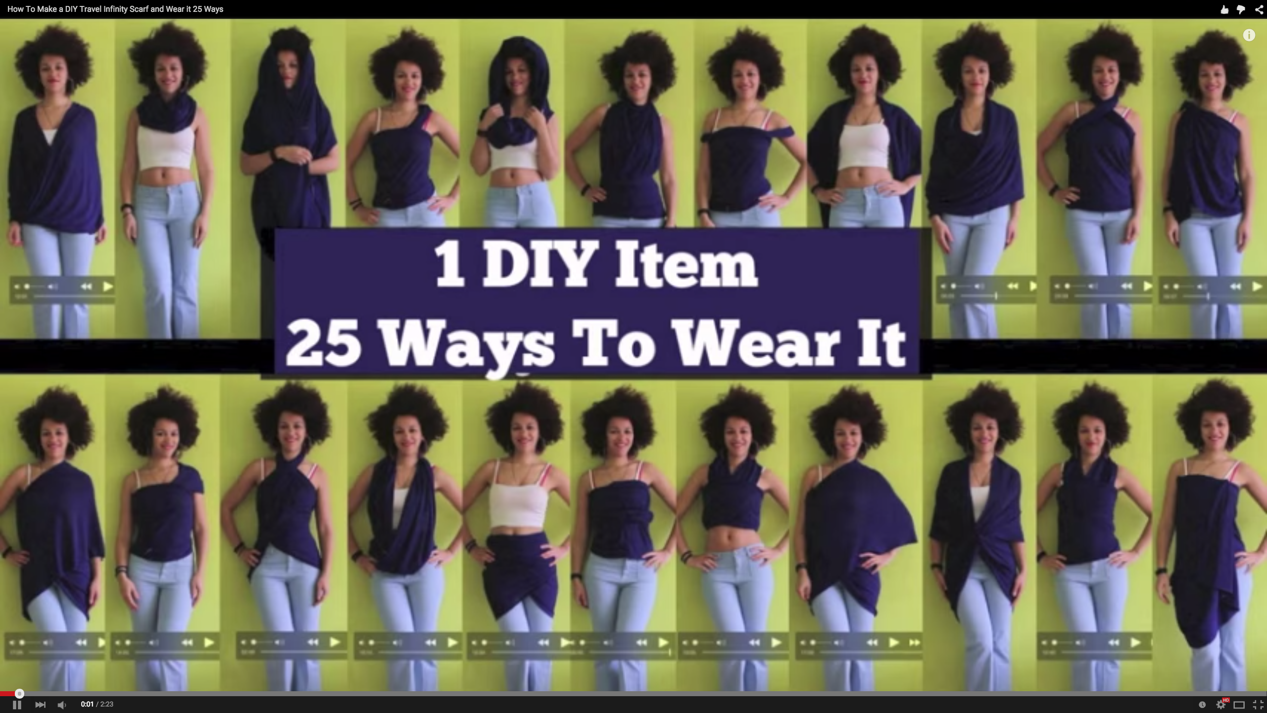 1 Quick Sew Scarf, 25 Different Ways to Wear It - can't believe how much she can do with one yard of fabric!