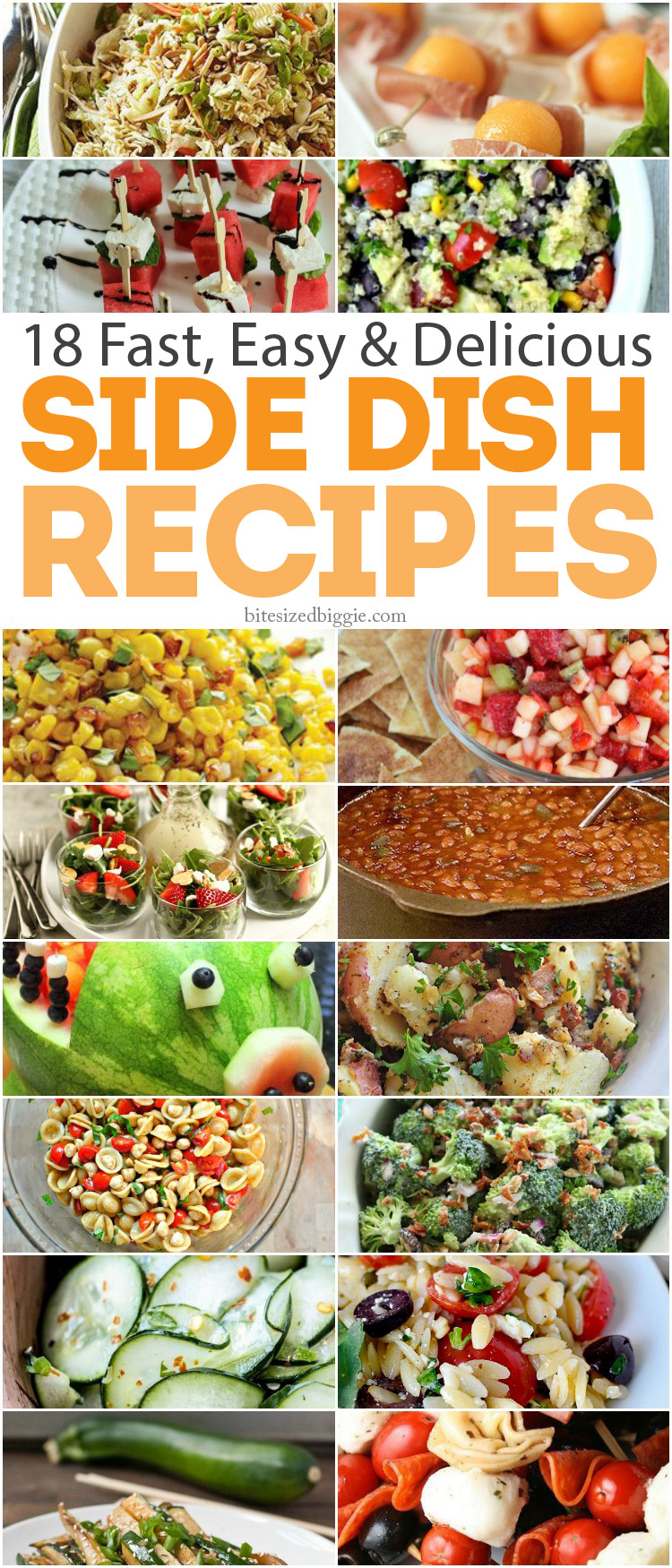18 Fast Easy and Delicious Cookout Side Dish recipes!  Easy to make and take!