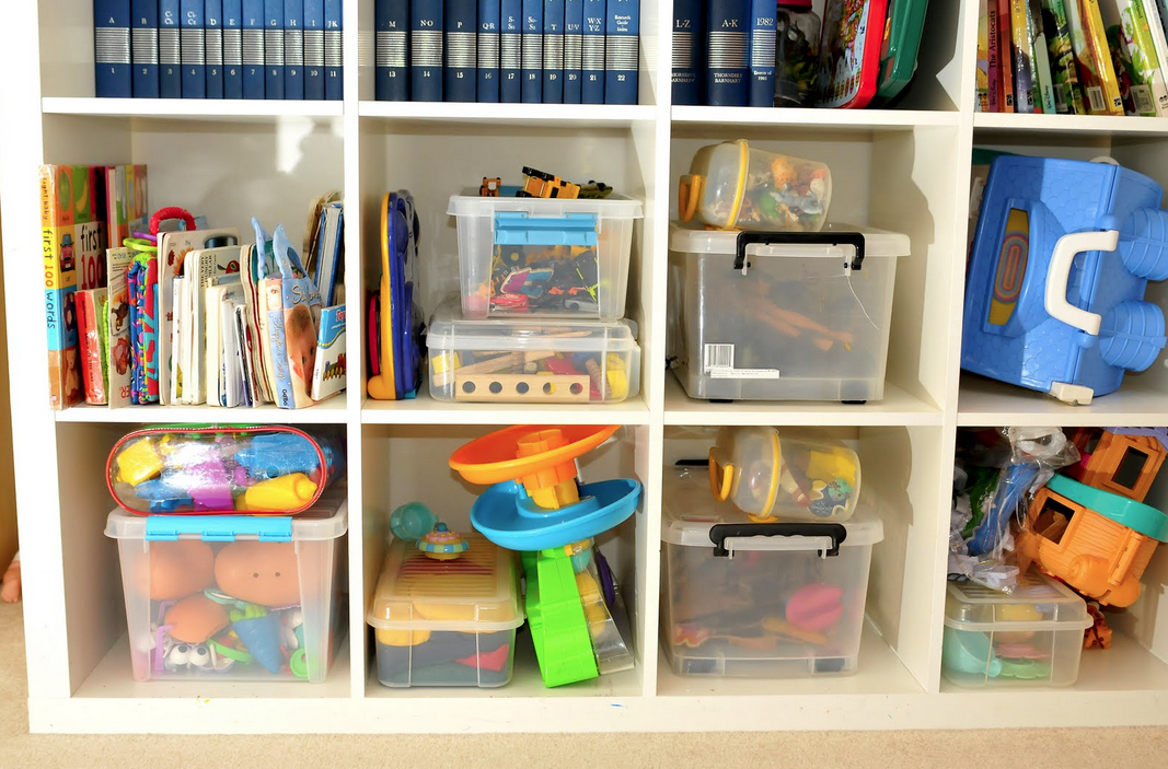 Clear storage bins are perfect for playroom storage