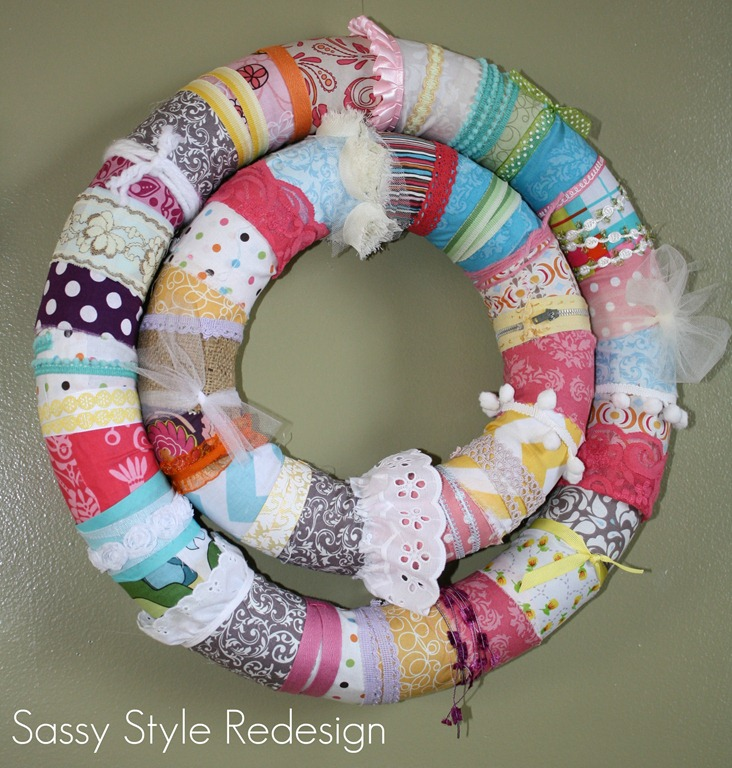 scrappy fabric pool noodle wreath