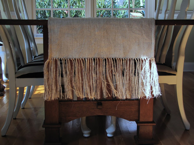 fringed burlap table runner