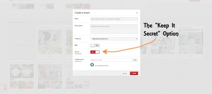 "How to make a ""secret"" board in Pinterest"