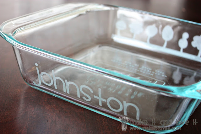 etched pyrex dish