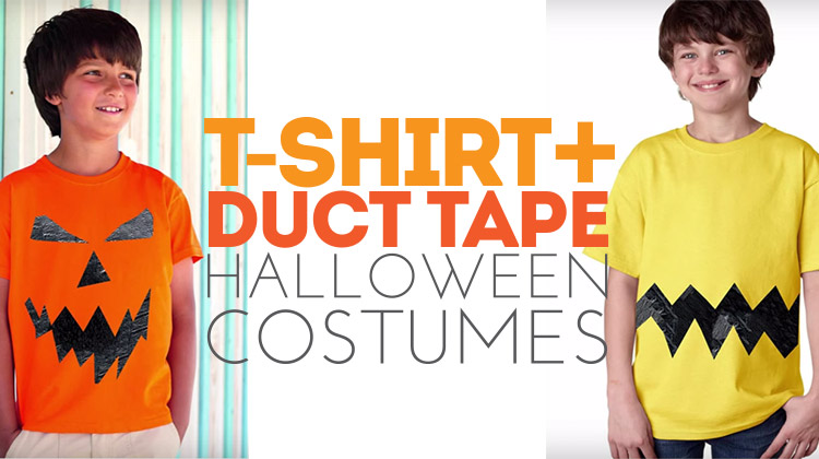 Easy and last-minute Halloween costumes made from a t-shirt and duct tape!