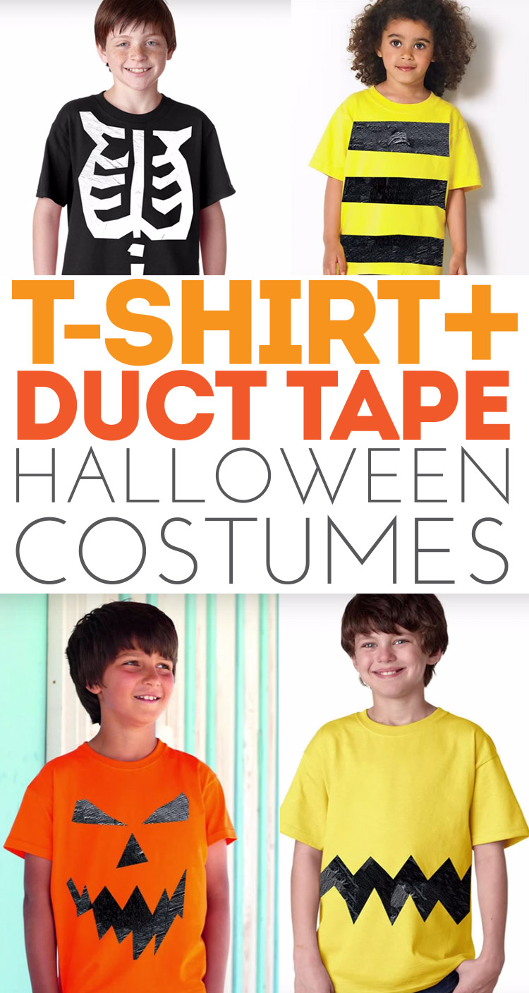 Make fantastic Halloween costumes with just t-shirts and duct tape! Also great for themed birthday parties!