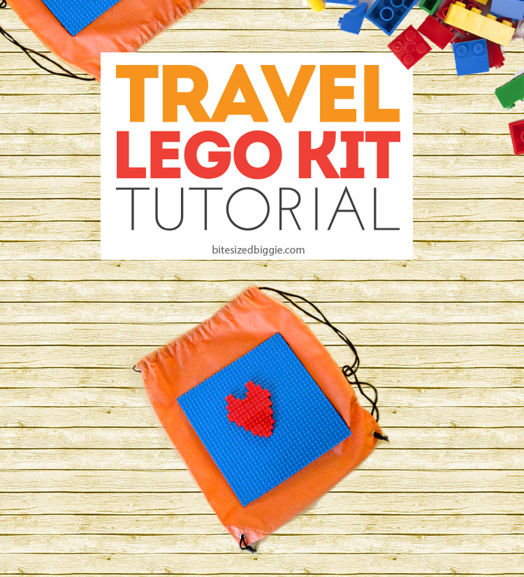 How to make a Travel Lego Kit - keeps those pieces together on the go and re-uses a freebie drawstring backpack that we all have too many of!
