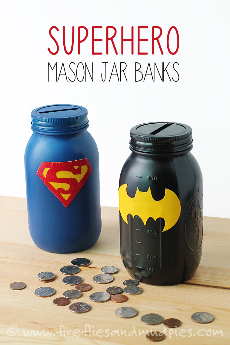 Mason Jar Superhero Banks