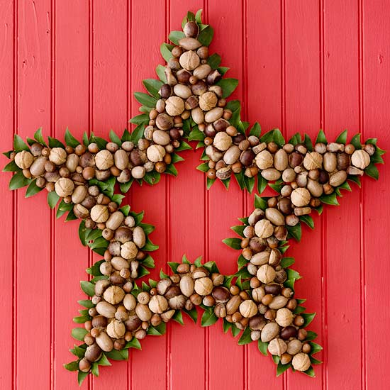 Star shaped wreath made with nuts