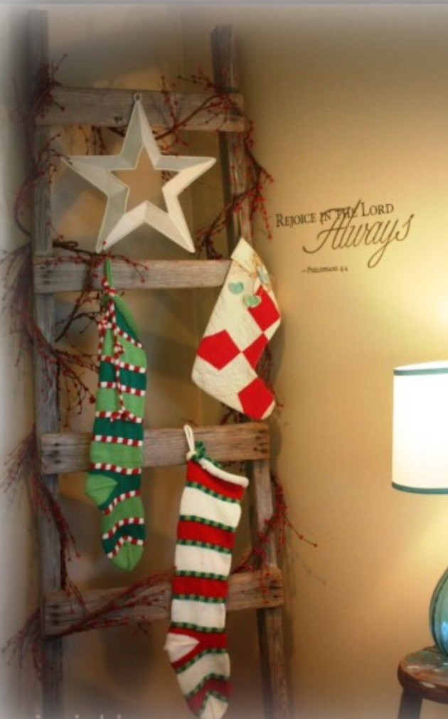 ladder for hanging stockings
