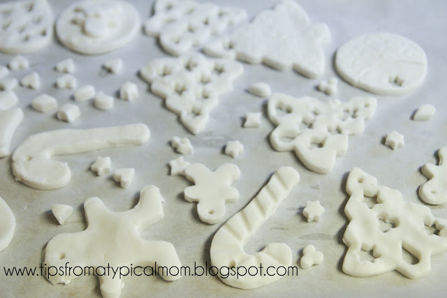 Ornaments made with corn starch and baking soda dough