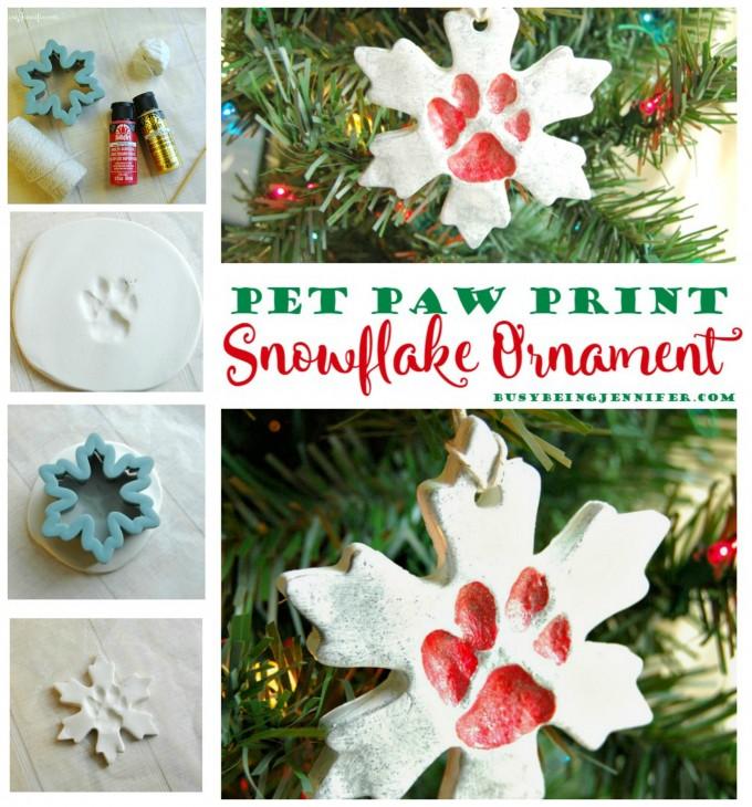Paw Print Snowflake Ornaments