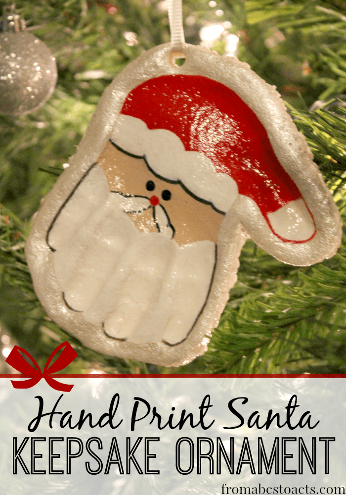 handprint santa salt dough ornament easy dough ornament ideas 6693