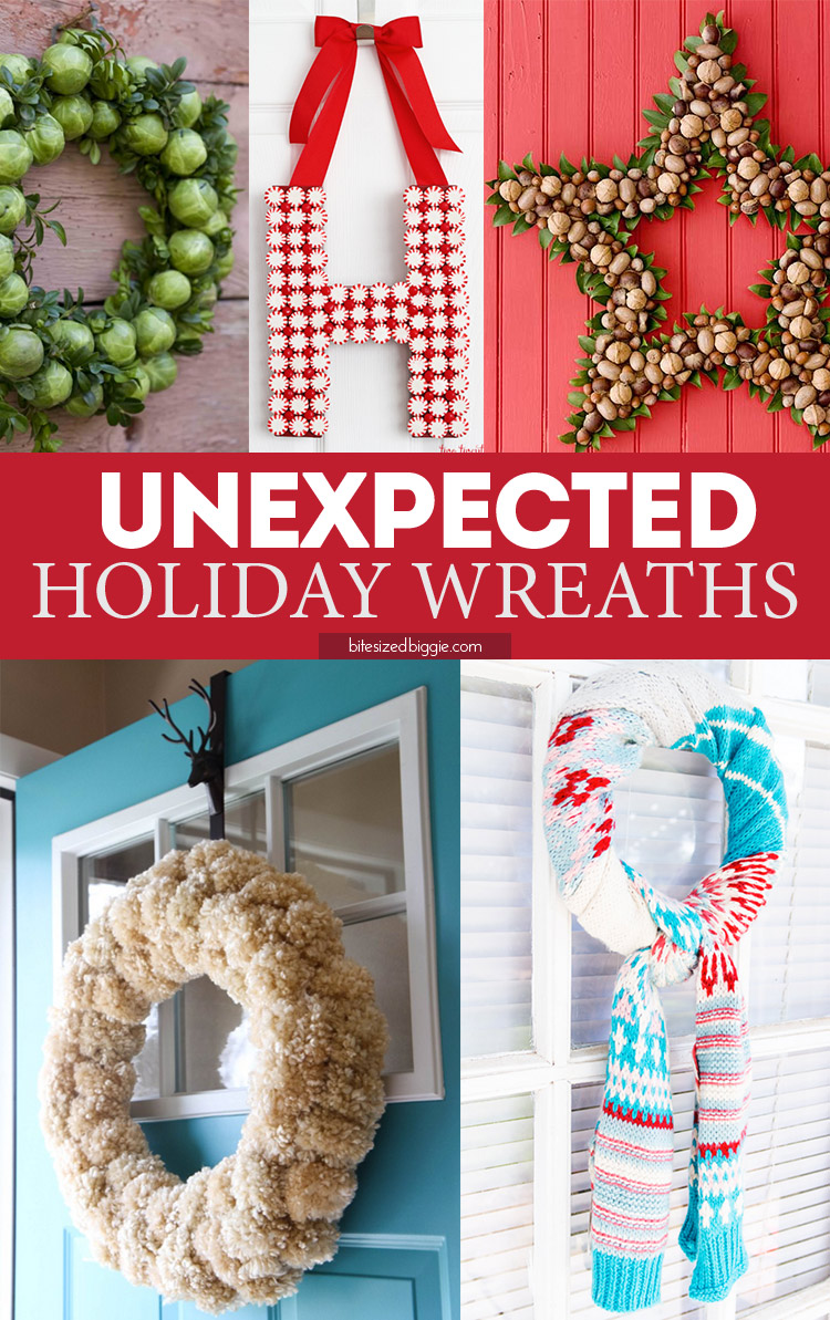 Unexpected ideas for holiday wreaths - can you believe the brussels sprouts version? And I love the scarf! So simple! And there's a mason jar lid version in the post!