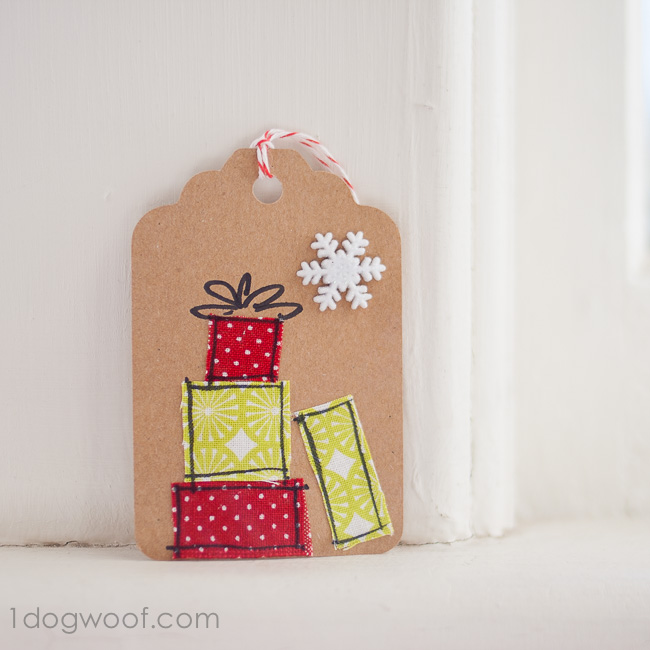 gift tag with fabric scraps