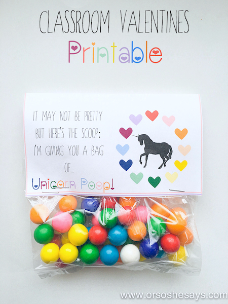 Unicorn poop printable valentine