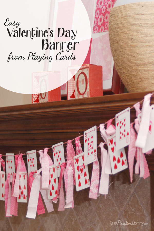 valentines day banner playing cards and scraps