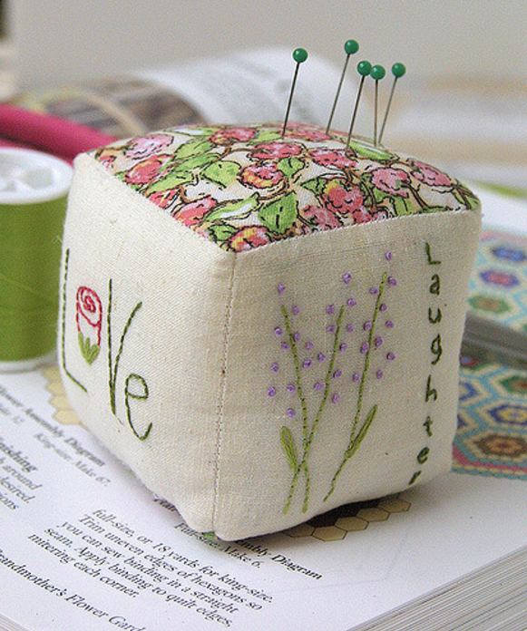 square embroidered pin cushion
