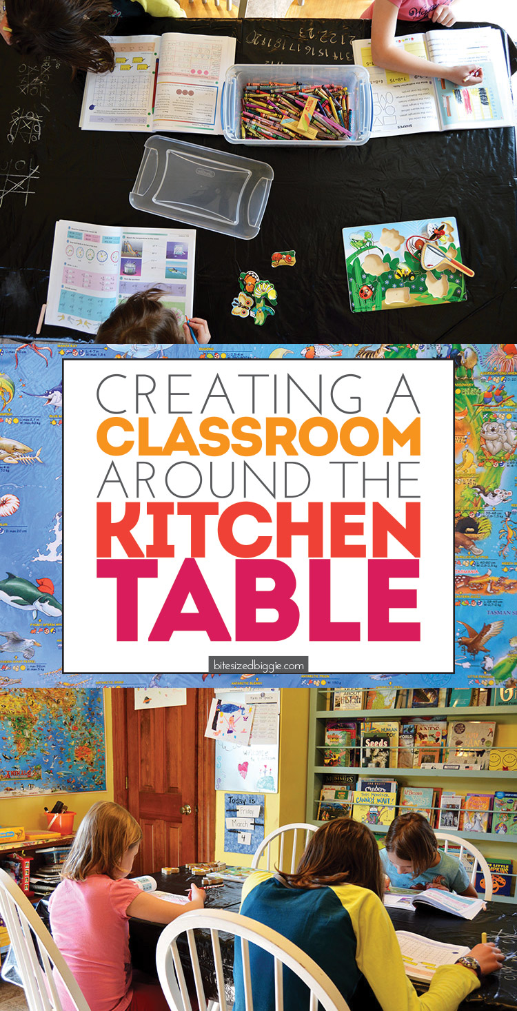 Creating a Classroom around your kitchen table - how to set up a learning environment that's perfect for any family, homeschoolers or not!