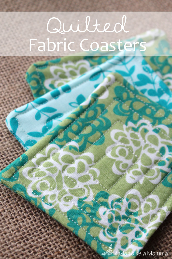 Quilted fabric spring scrap coasters