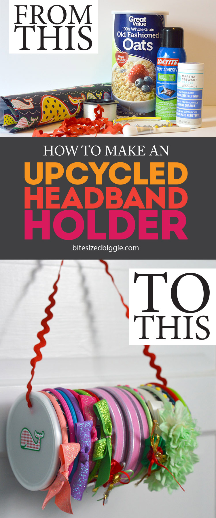How to make an upcycled headband holder - this simple craft holds headbands on the outside and holds tons of smaller hair accessories inside!