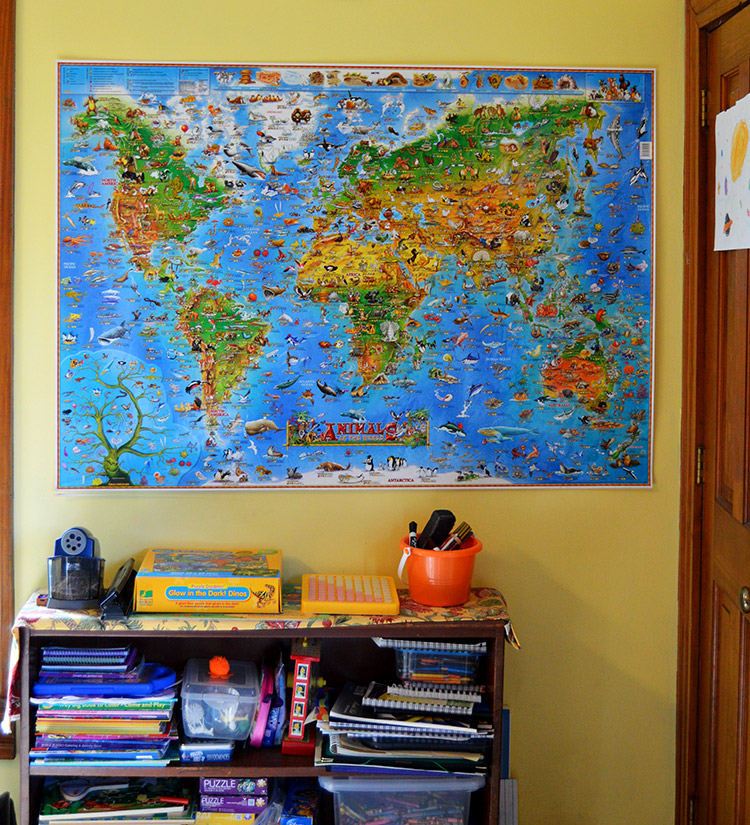 Kitchen table classroom - how we set up our home for learning that never stops - wall map