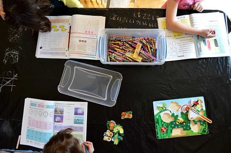 Kitchen table classroom - how we set up our home for learning that never stops