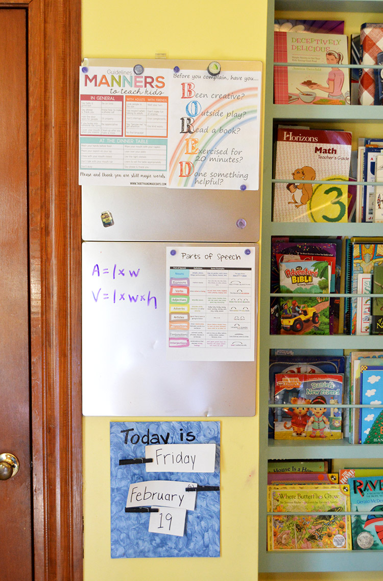 Our homeschool setup - a classroom in the kitchen