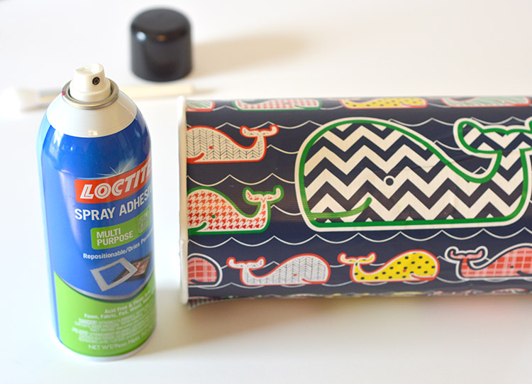 Upcycled Headband organizer tutorial - use spray adhesive to wrap your container smoothly