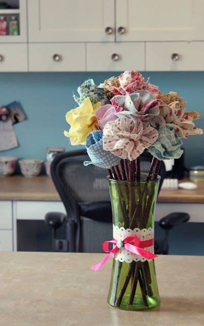 long stem spring scrap fabric flowers