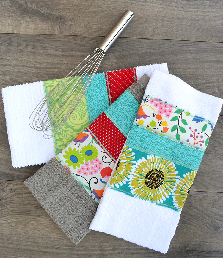 Using Fabric Scraps to Embellish Dishtowels & Tea Towels