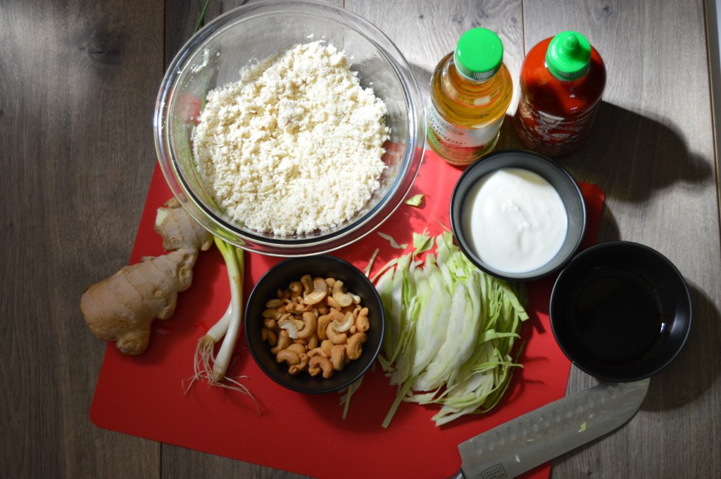ingredients for sriracha chicken salad
