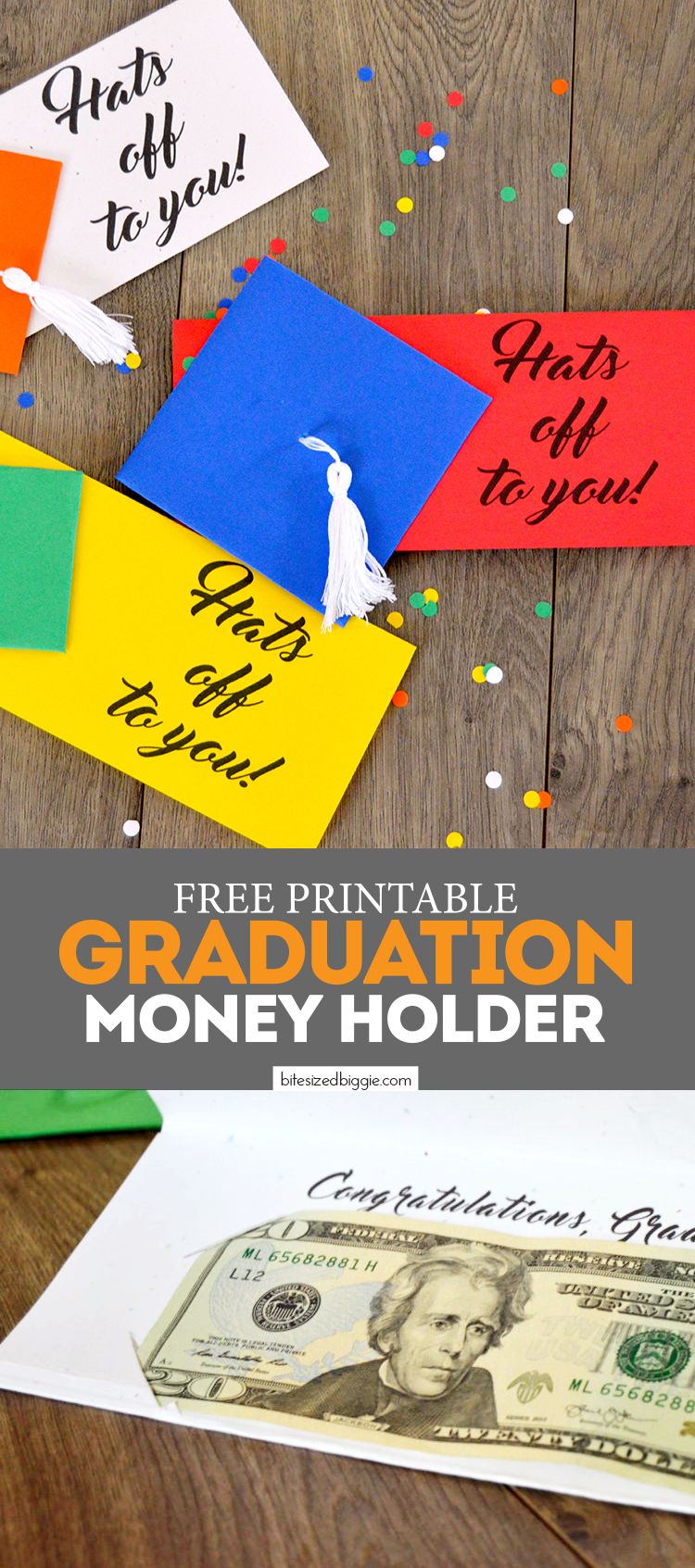 Free Printable Money Holder Graduation Card - holds cash or a check! So cute with the little tassel! FREE DOWNLOAD!