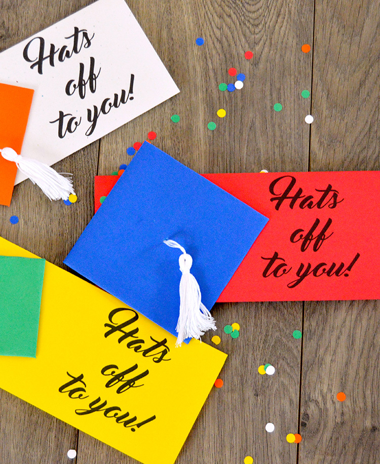 Free Printable Money Holder Graduation Card - holds cash or a check! So cute with the little tassel!