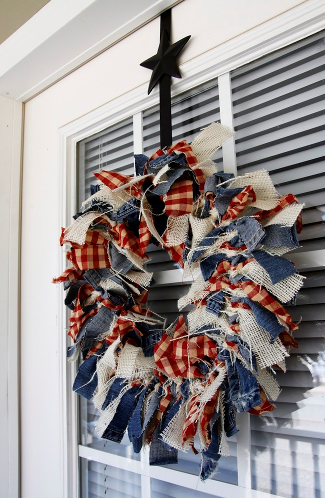 Patriotic-Wreath-Made-From-Scrap-Denim-Burlap-and-Check-Fabric