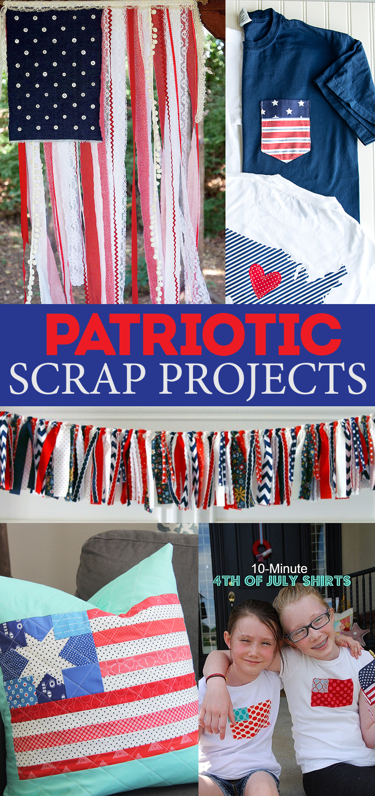 Patriotic scrap projects - bust through your scrap strash to create these gorgeous Red White and Blue DIYs!