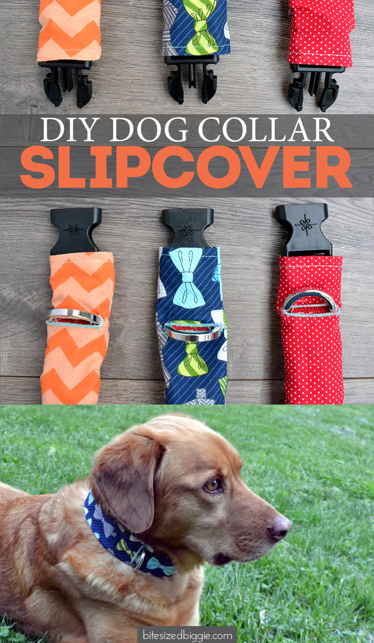 Pet Collar Slipcover tutorial for cats and dogs! Use fabric scraps to fancy up an old collar and dress them up for special occasions!