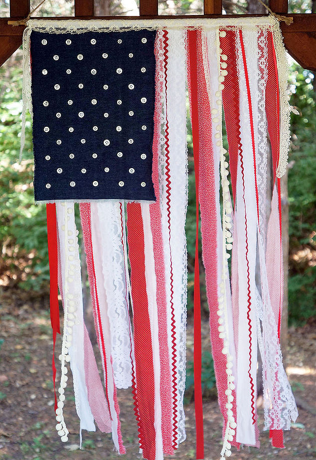 american flag with ribbon, lace and fabric scraps