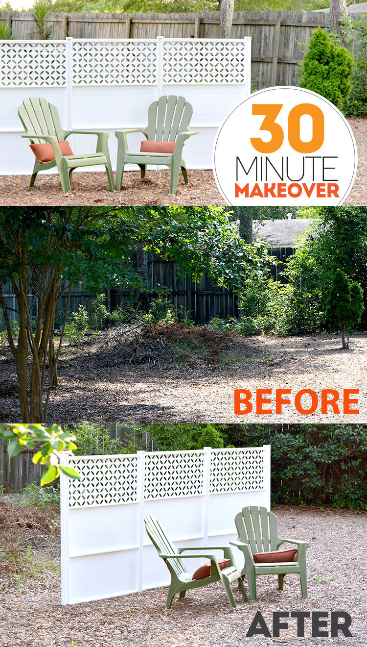 30 Minute Backyard Makeover with Connections Fencing on Bite Sized Biggie