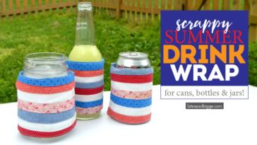 Scrappy summer drink wrap koozie DIY project