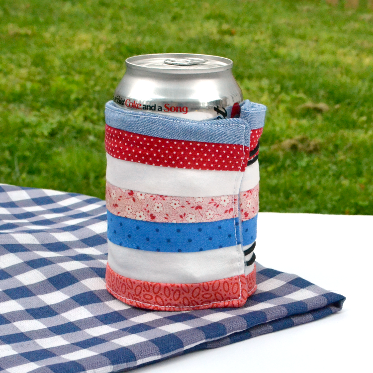 Scrappy summer drink wrap koozie DIY project tutorial