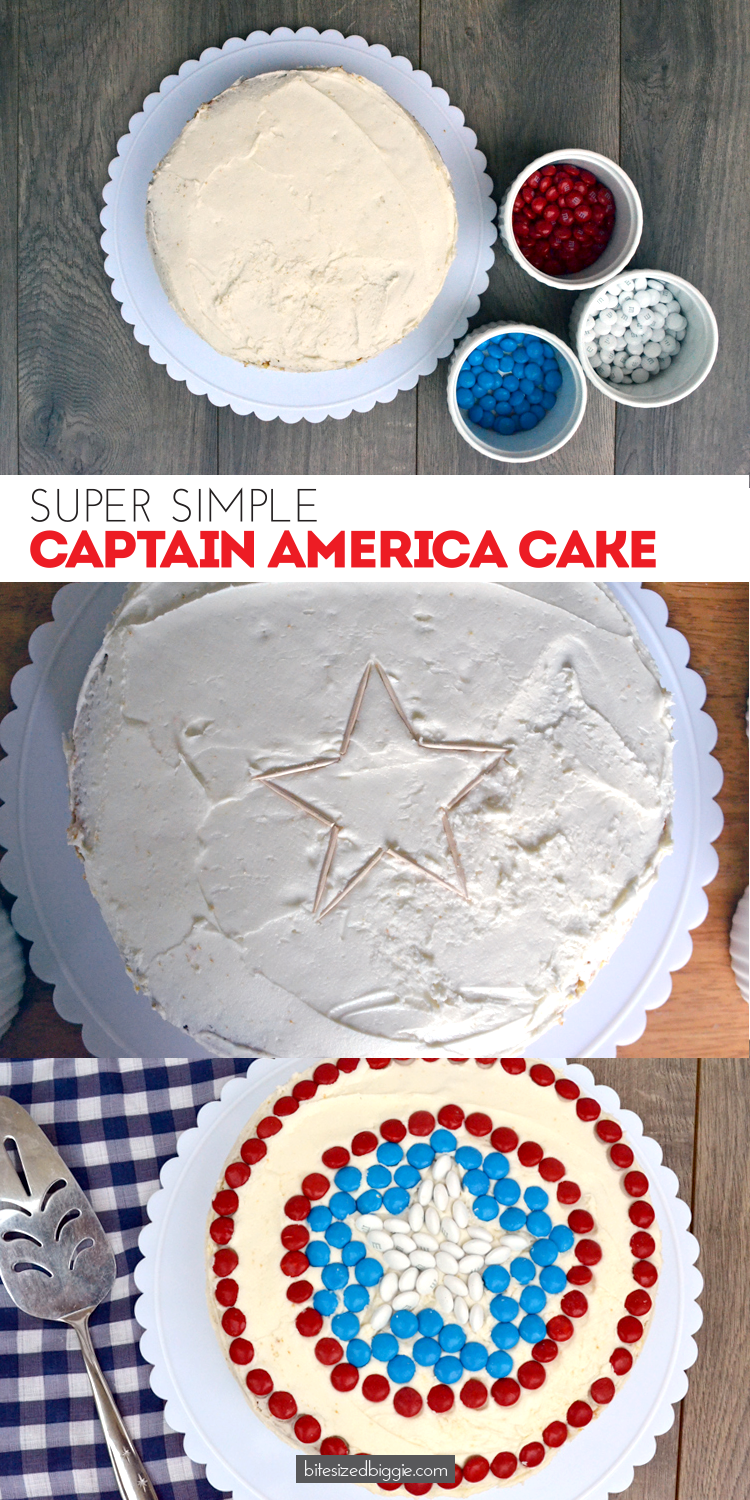 Quick and Easy Captain America Cake tutorial by Bite Sized Biggie