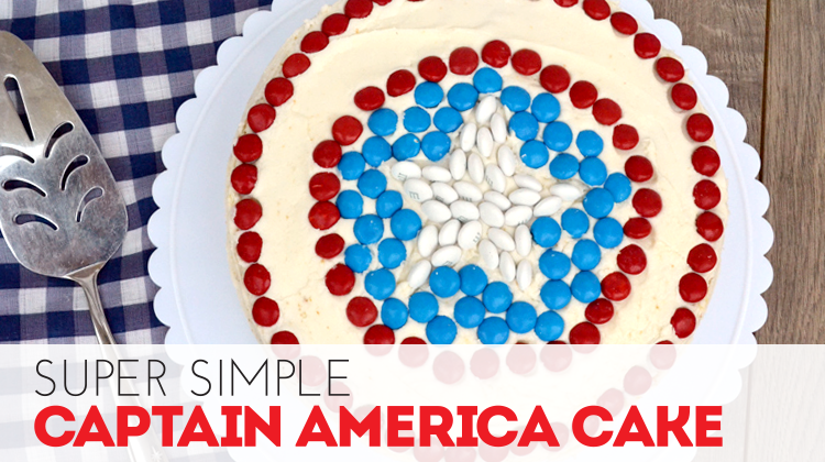 Quick and Simple Captain America Cake tutorial by Bite Sized Biggie