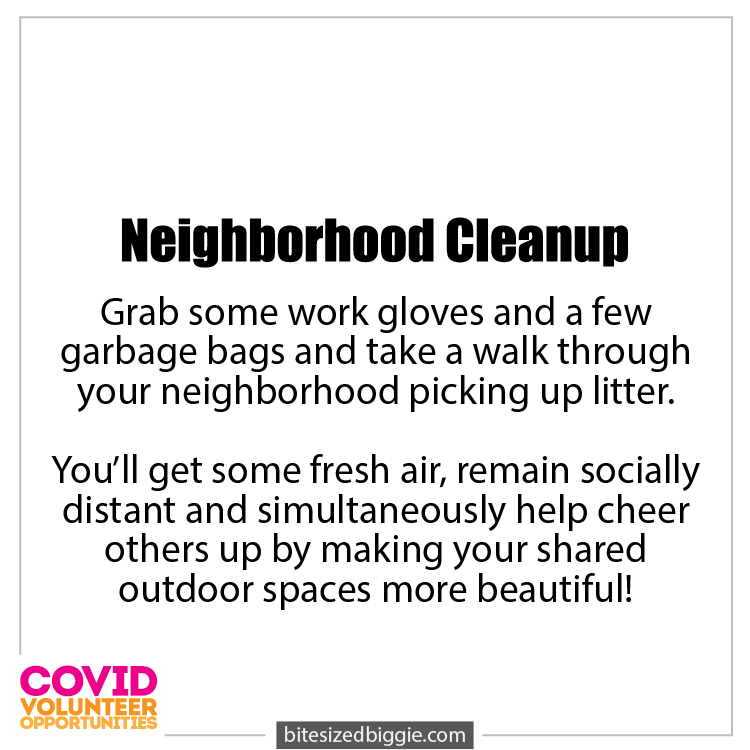 Neighborhood Cleanup - COVID-19 Volunteer Opportunities