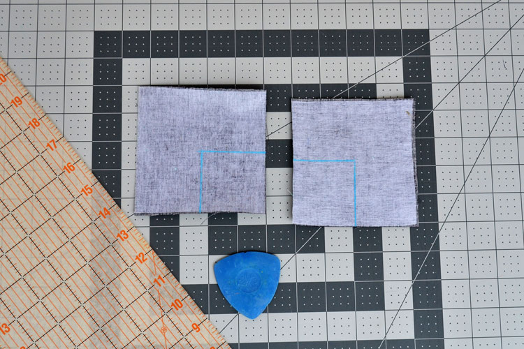 Chalk lines on pattern pieces for Minecraft creeper pillow